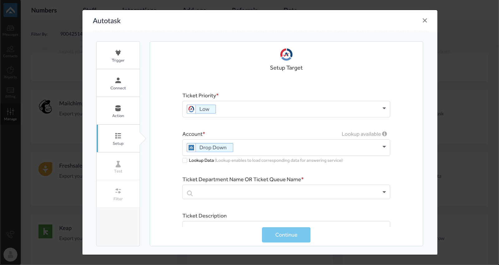 step eight of integrating AnswerForce with Autotask