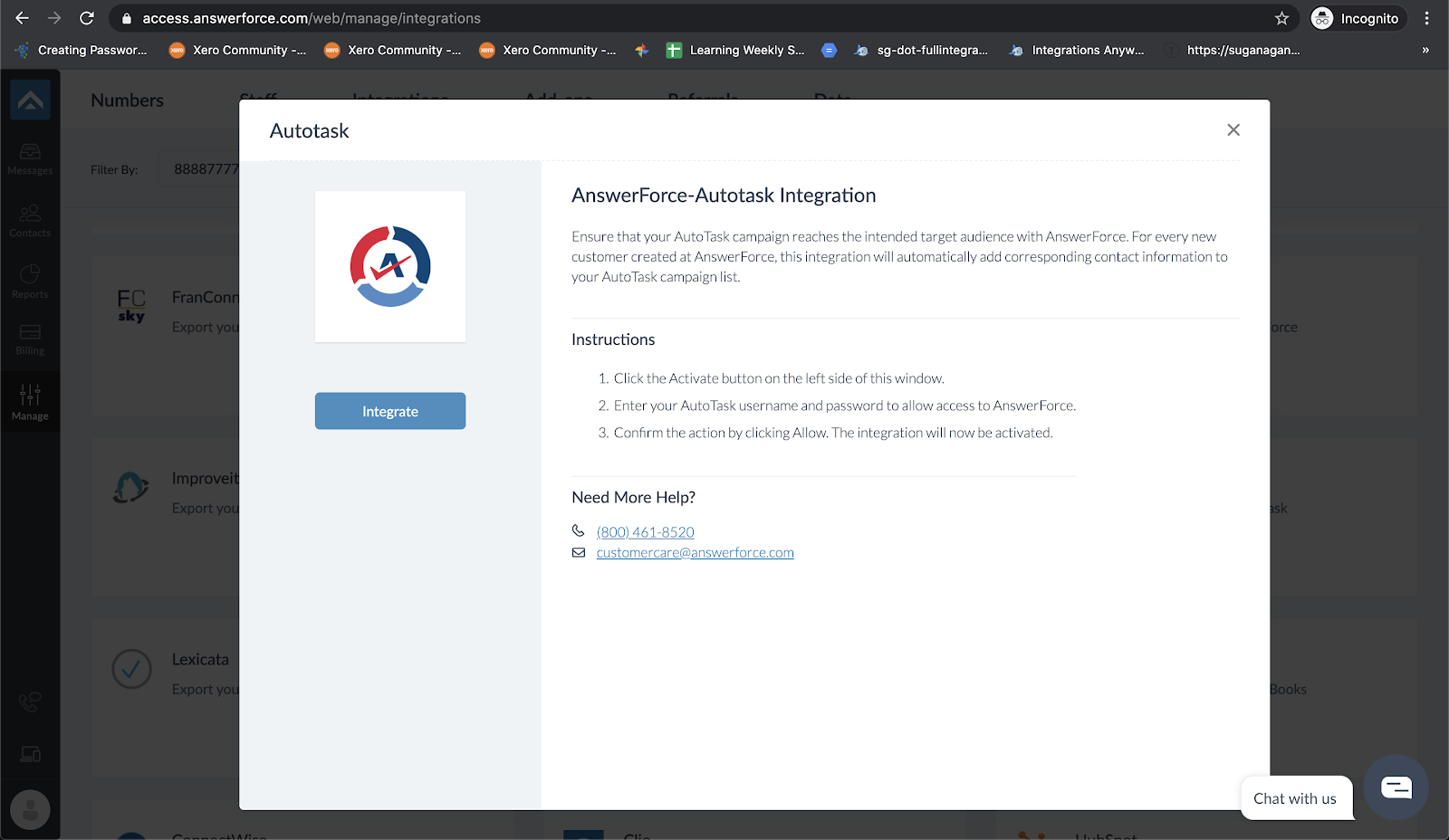 step two of integrating AnswerForce with Autotask
