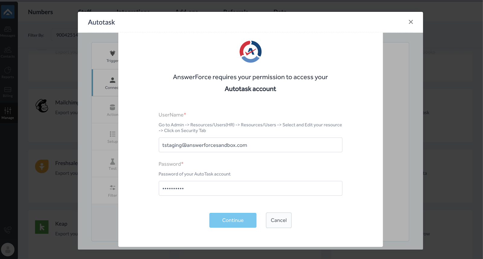 step four of integrating AnswerForce with Autotask