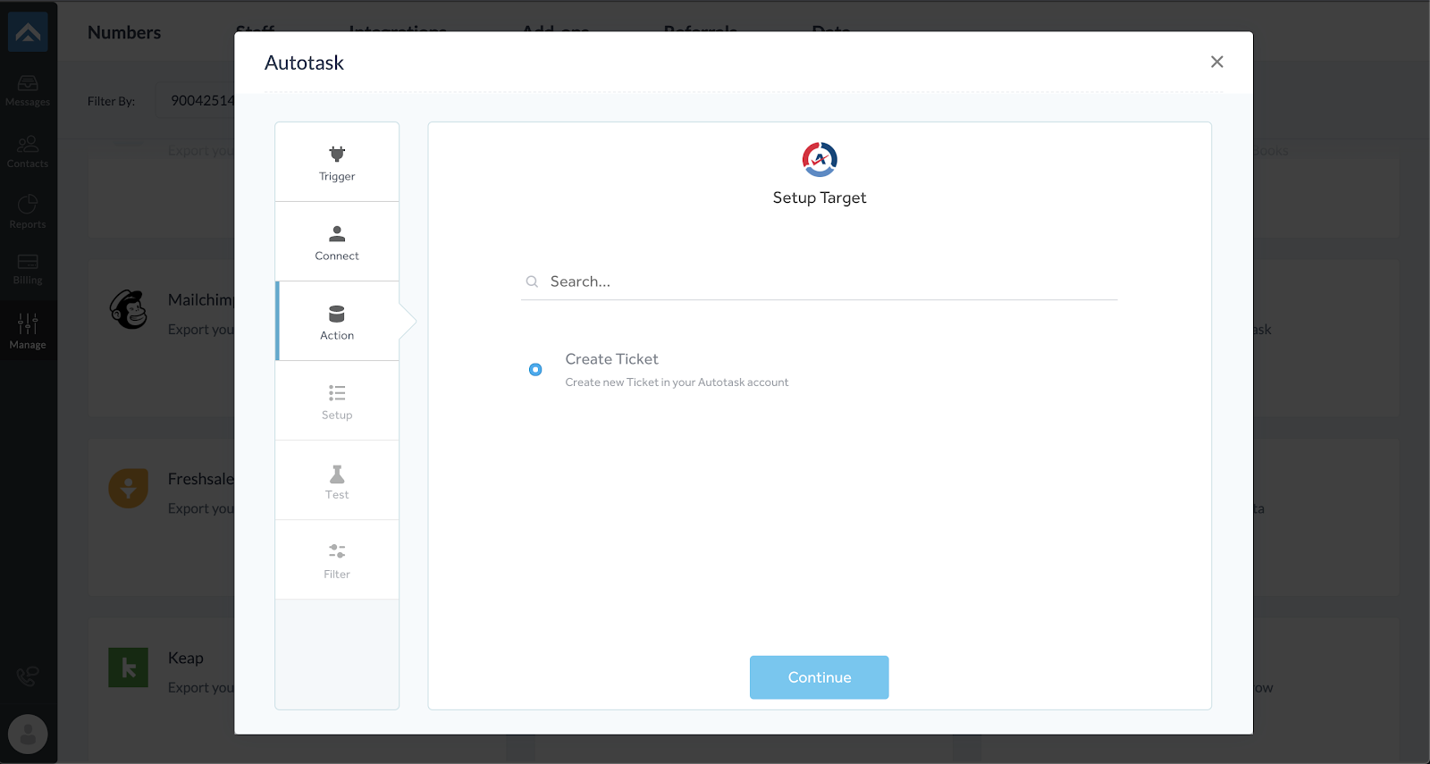 step five of integrating AnswerForce with Autotask