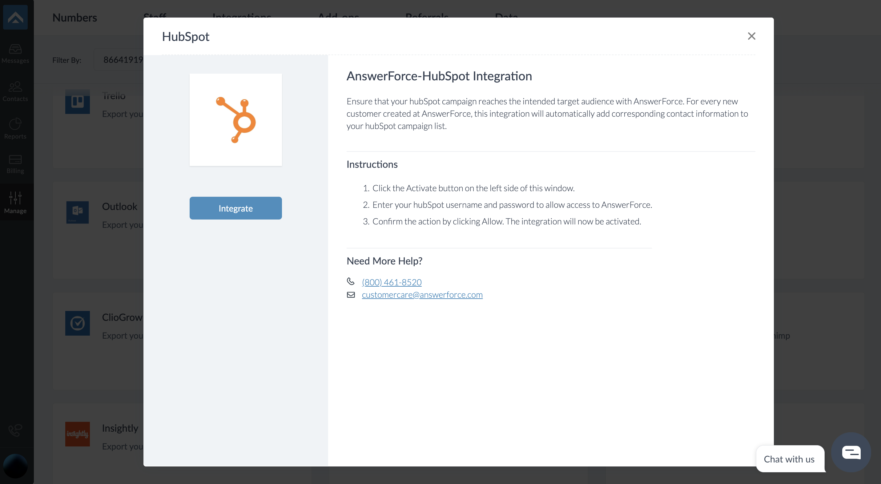 step two of integrating AnswerForce with Hubspot