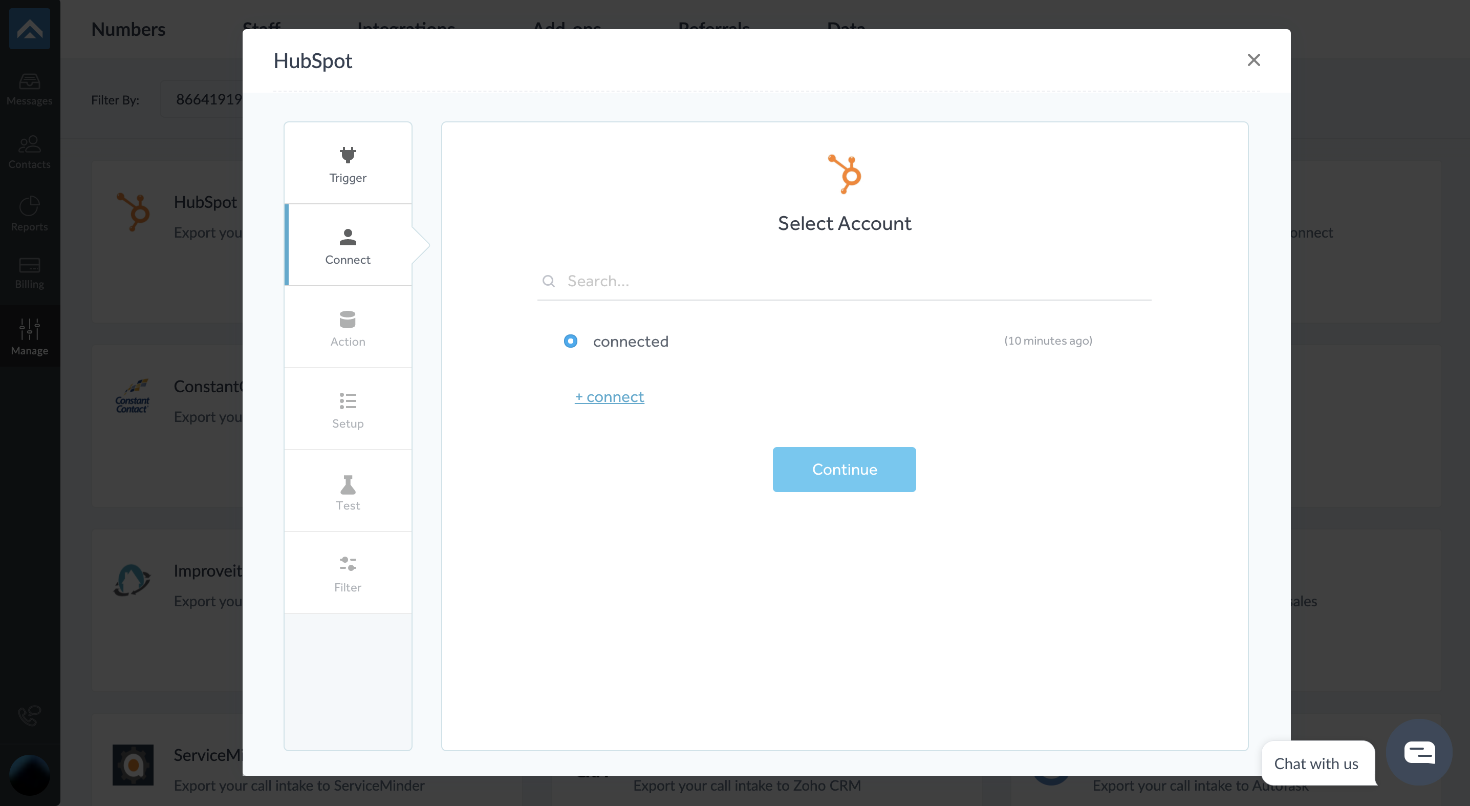 step four of integrating AnswerForce with Hubspot