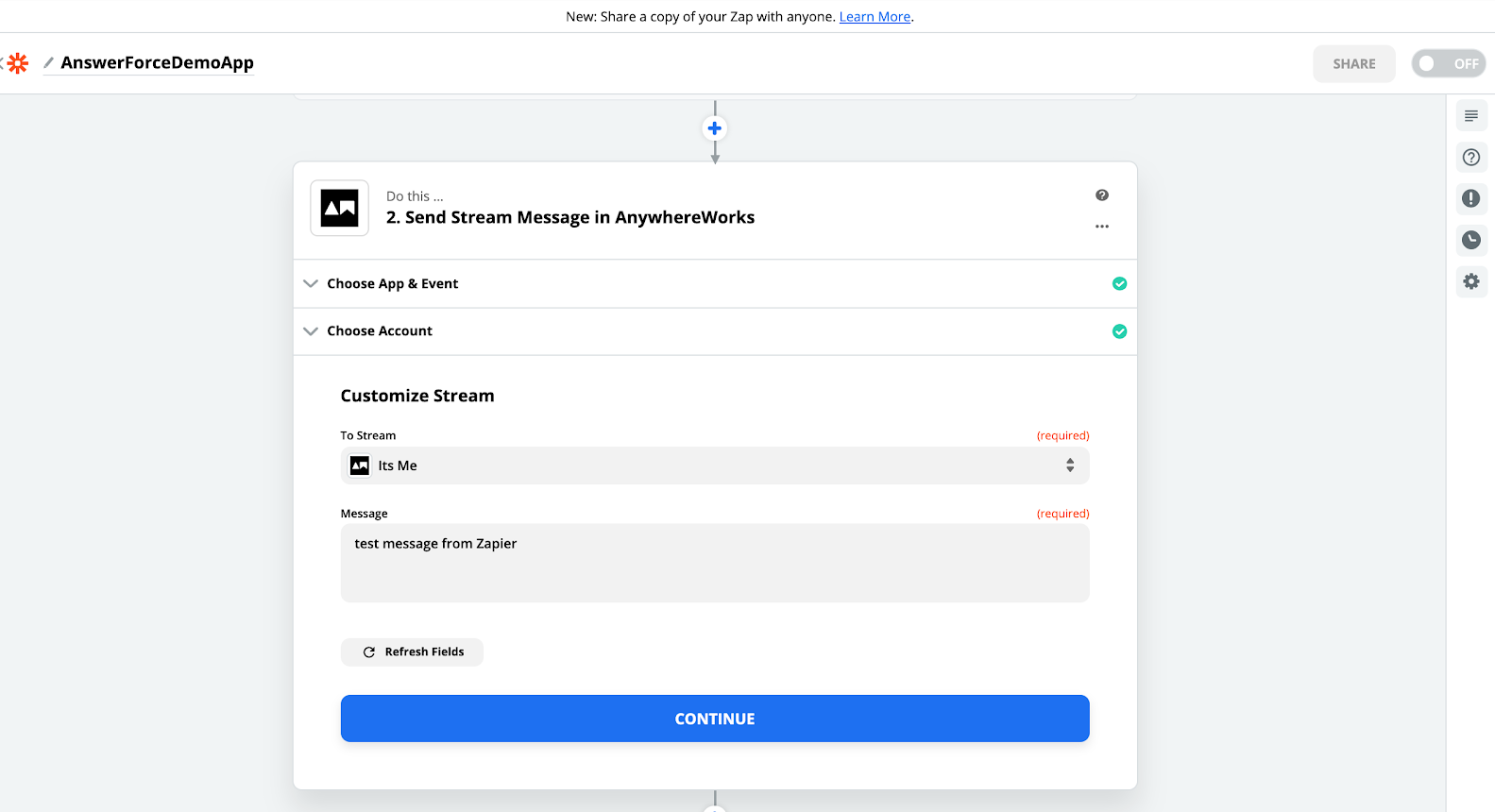 step ten of integrating AnswerForce with zapier