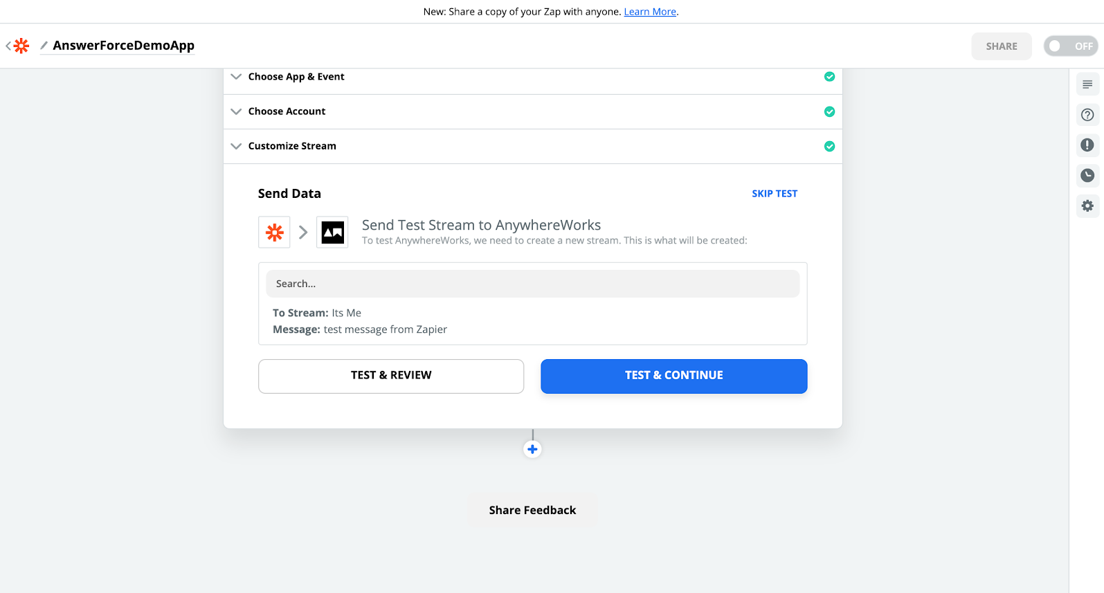step eleven of integrating AnswerForce with zapier