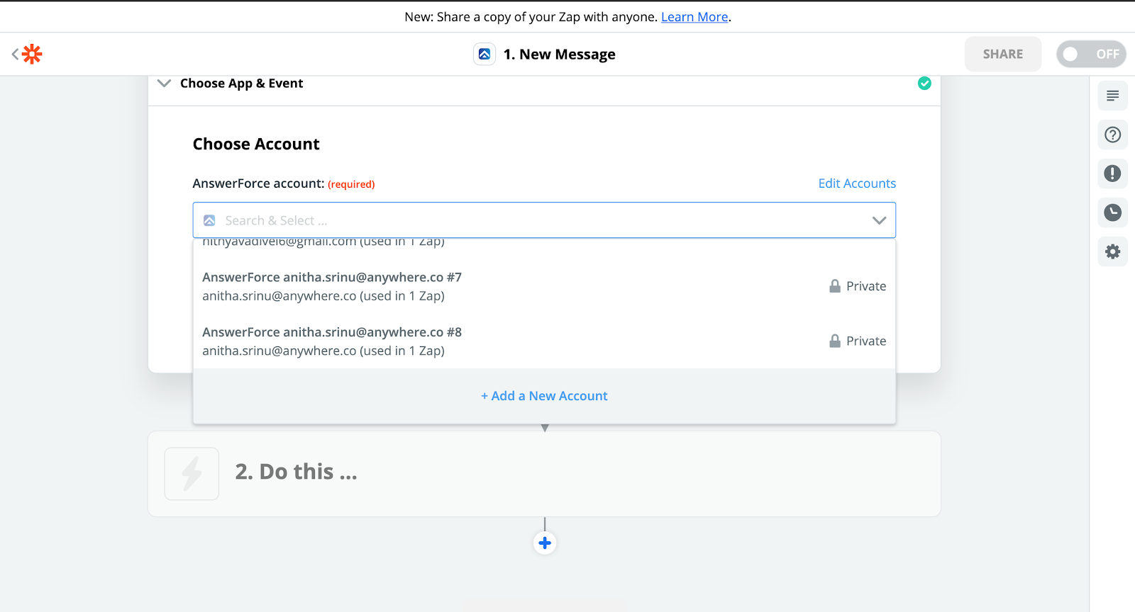 step three of integrating AnswerForce with zapier